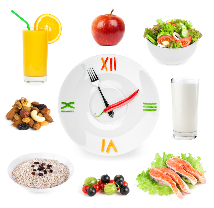 Clock with healthy diet healthy food
